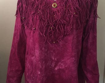 Vintage fringe tie dye beaded tunic one size pink oversized 1980's love