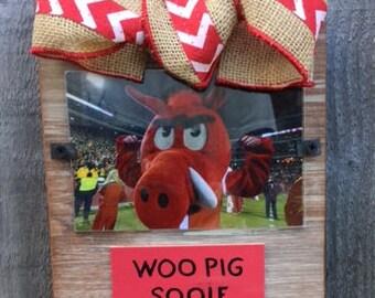 Arkansas Woo Pig Sooie Whitewashed Rustic Frame