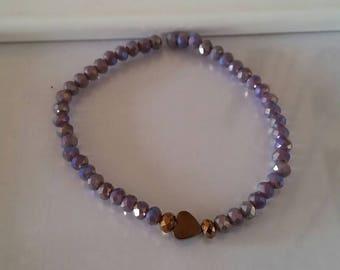 Simple bracelet with Hematite and Crystal Hippy Gipsy heart Handmade Sarabanda