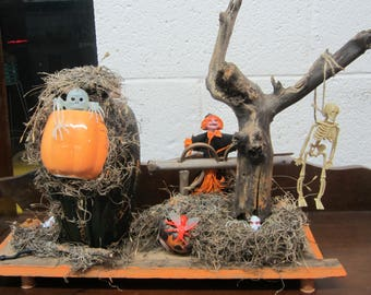 "Handmade Halloween Decoration or Art Display, ""Skeleton Scandal"""