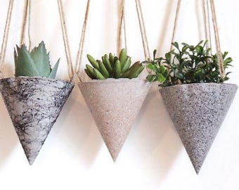Hanging Planters /Granite effect spray/Hanging concrete Planters/Concrete planters/Hanging Planter/ Hanging pot/Granit planters/Gift for her