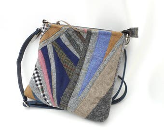 Handmade shoulder patchwork Harris Tweed bag grey/multicoloursd