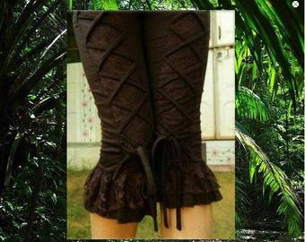"Ruffled lace leggings and dark brown lace ""PSY TRANCE"""