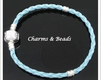 Pearl bracelet in sky blue vegan leather 18 cm compatible clip