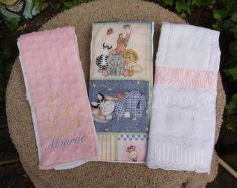 Baby Animals  Burp Cloth Gift Set in Pinks, Blues and Eyelet