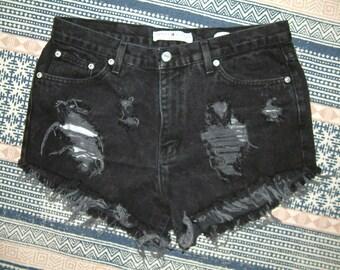 Tommy Hilfiger Vintage Destroyed Black Denim High Waisted Shorts - M