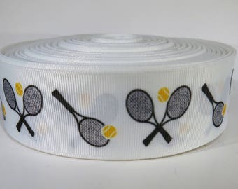 "5 yards of 1.5 inch ""tennis rackets"" grosgrain ribbon"