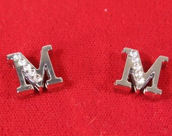 """BULK! 30pc """"letter M"""" 8mm slide charms in antique style silver (BC1375-M)"""