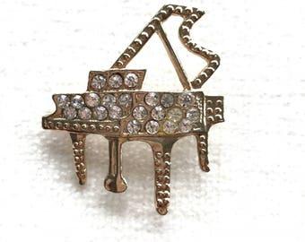 Grand piano rhinestone brooch pin