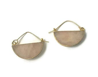 Rose quartz earrings, Valentines day gift, Birthday gift, Gold earrings, Moon earrings, Boho earrings, Crescent moon earrings, sister gift