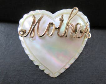 Vintage Mother Heart Love Gold Tone Mother of Pearl Brooch Pin Mother's Day