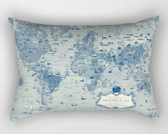Mercator Map Pillow Case - Blue and cream Vintage map - unique travel, wander, classic, vintage design