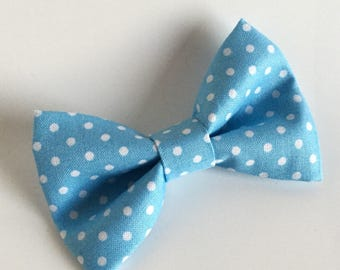 Bow Tie , Blue Bow Tie, Blue with White Dots, Polka Dots
