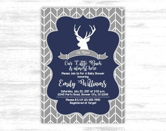Deer baby shower invitation for boys navy grey woodland baby shower invitation deer baby shower arrows baby shower invite  (SWW306)