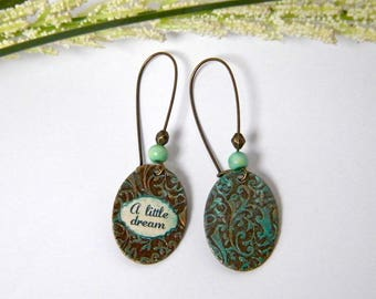 """Brass etched, patinated, bone beads, """"A Little Dream"""" gift idea for woman earrings"""