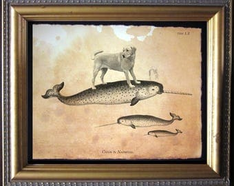 Labrador Retriever Yellow Lab Riding Narwhal - Vintage Collage Art Print on Tea Stained Paper dog art - dog gifts - dog christmas gift