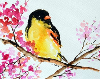 Original Watercolor Painting, Handpainted Postcard, Goldfinch Bird Painting 4x6 inch
