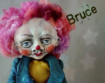OOAK Art Doll Clown Bruce
