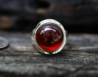 Hessonite Garnet Ring Size 8 - Garnet & Sterling Silver Ring - Hessonite Garnet Ring - Garnet Cabochon - January Birthstone - Garnet Ring 8