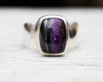 Sugilite Ring 8 - Sugilite and Sterling Silver ring - Suglite Jewelry - Sugilite ring - Ring Size 8 - Sterling Silver Sugilite Ring