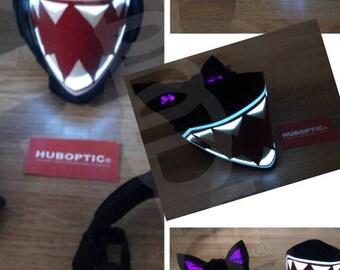 Light Up Mask and Cyber Kitty Ears combo for DJ Mask Rave Dancer Joker Girl Squad Raptor Costume Cosplay EDM