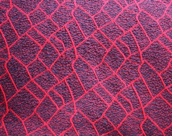 Red and Black fabric boucle ruched pattern 60's fabric remnant retro reversible