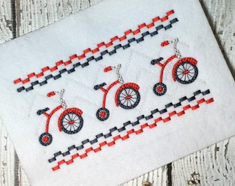 Tricycle Faux Smock Embroidery Design - Trike Faux Smock Embroidery Design