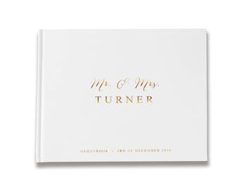 White Guest Book, White Wedding Guest Book, Gold Foil Guest Book, Gold Guest Book, Color Choices Available, GB 039
