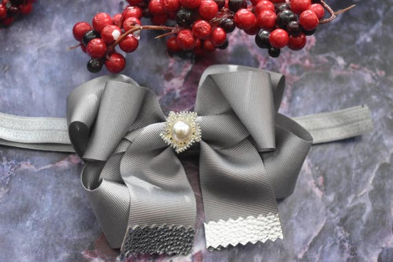 Silver Grey Solid Grosgrain with Leather Tips Bow - Baby / Toddler / Girls / Kids Headband / Hairband / Barrette / Hairclip / Christmas