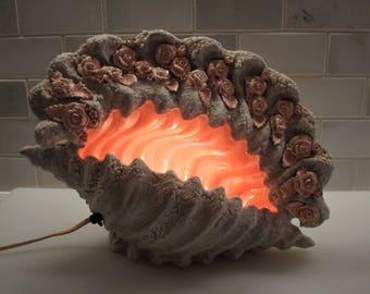 Vintage Iva Pruett Conch Shell Lamp/Night-Light Sculpture - 1950's - Sweet!