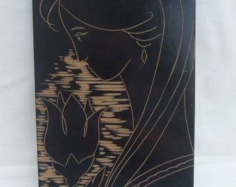 Painting On Wood, Carving, Girl