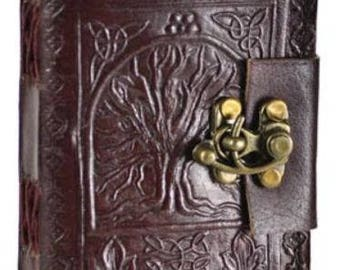 FREE SHIPPING- Tree of Life Leather Blank Journal with Lock