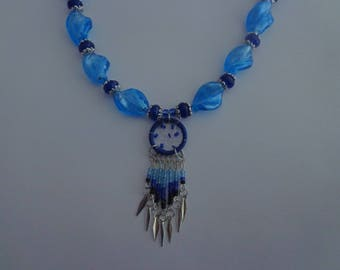 One of a Kind Blue Dream Catcher Necklace,Blue Necklace with Dream Catcher Pendant
