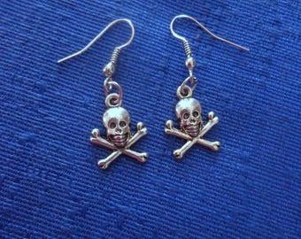 Silver Skull and Bones Earrings,Halloween Earrings,Halloween Jewelry