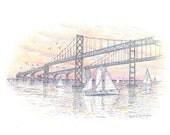 Color pencil/ pen and ink drawing of Bay Bridge