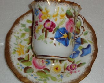 Reserved for SC Hammersley Queen Anne Chintz Demitasse Pattern #13146 Fine Bone China Made in England Free Standard Shipping in the U.S.