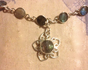 Beautiful Labradorite Necklace in Sterling Silver with Flower Pendant