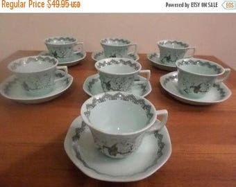 Save 25% Now Set of Seven Vintage Adams (Wedgewood) China Calyx Ware Chusan Pattern English Ironstone Cup & Saucer Sets
