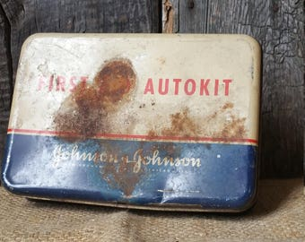 Vintage 1940's Johnson & Johnson First Aid Autokit,Metal/Tin First Aid Kit,First Aid, Medical Help,Travel First Aid Kit,Original Contents