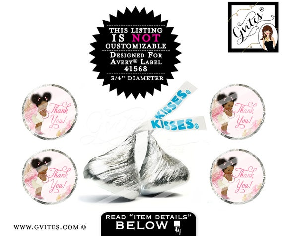"""Hershey kiss stickers, hershey kiss labels, baby shower, thank you tags, pink gold, PRINTABLE 4x6""""/20 Per Sheet {Designed For Avery® 41568}"""