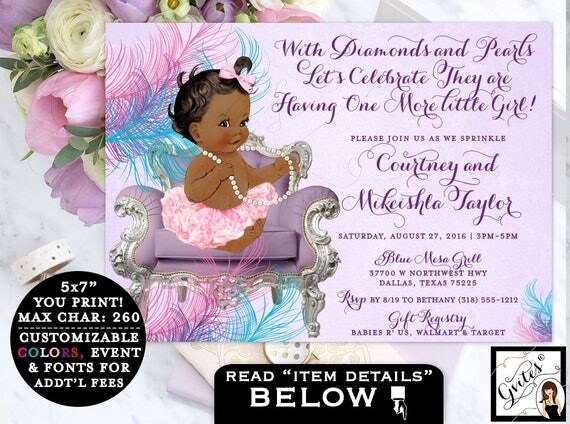 Purple Teal Pink Baby Sprinkle African American baby shower invitation, ribbons bows, diamonds pearls, lavender ethnic digital invites