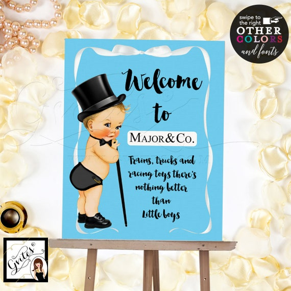 Baby Shower Welcome sign poster, Baby & Co signs, white bow, Baby BOY birthday customizable text, colors and fonts. Digital File Only!