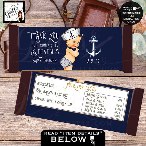 Candy bar wrappers, thank you for coming candy wrapper little sailor baby, nautical stickers navy blue. 2-Per/Sheet Digital file only!