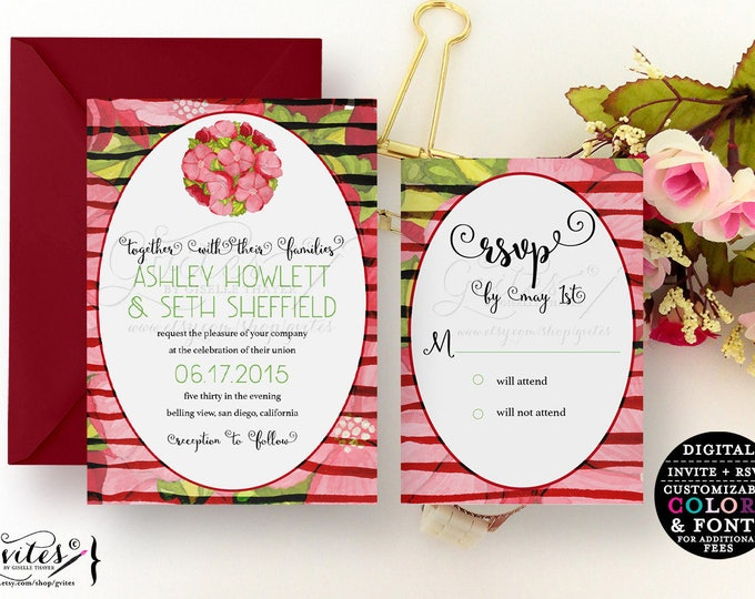 Red pink and White Invitation, Peonies wedding rustic chic, farm floral, country flowers invites, peony flower printable, white pink.