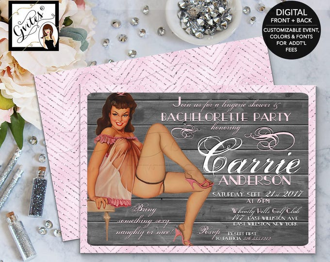 Pin Up Girl Invitation, Pinup Bachelorette Lingerie Shower Pin Up Girl invitations, 1950s retro invites pin up girls, vintage invite, 5x7.