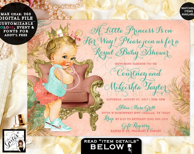 Coral and Mint Baby Shower Invitation, Coral and Gold Baby Invites, Vintage baby girl princess, printable digital file only.