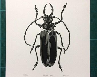 Beetle Linocut Print // Handmade // Original // Limited Edition