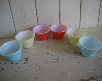 Set of 6 Vintage Pyrex JAJ Opal Custard Cups - Pastel Colours