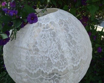 """Christmas in July Deals White, Ivory, Black Lace Fabric Lanterns size 12"""" 16"""" 20"""""""