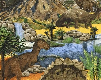Dinosaurs scene -FABRIC PANEL - Quilting Cotton